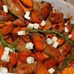 Sweet potato and sausage traybake